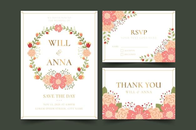 Artigos de papelaria de casamento com design floral