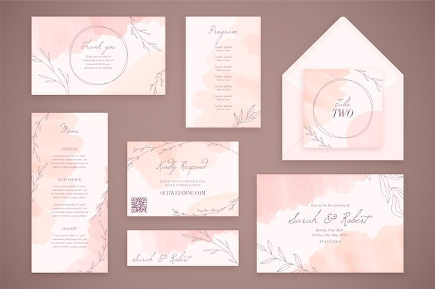 Artigos de papelaria de casamento com envelopes e flores
