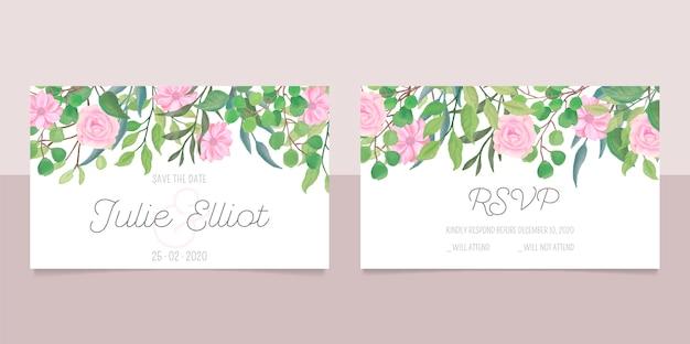 Artigos de papelaria de casamento com flores em aquarela