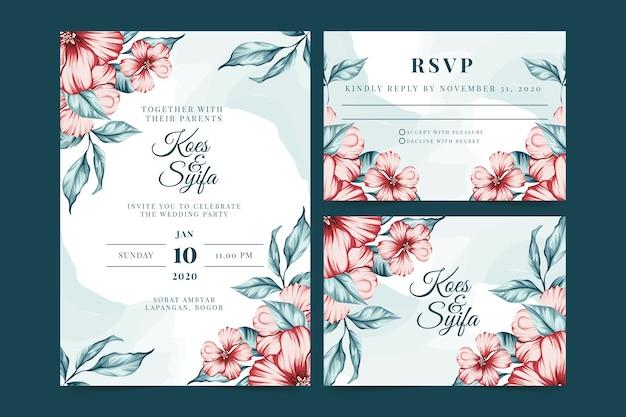 Artigos de papelaria de casamento com flores vermelhas