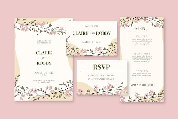 Artigos de papelaria de casamento com flores