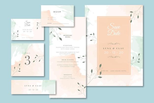 Artigos de papelaria de casamento com menu e convite