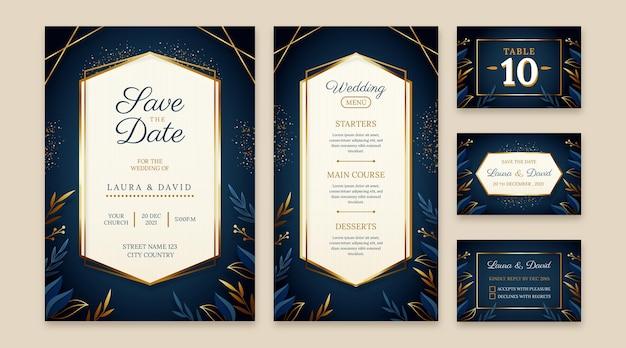 Artigos de papelaria de casamento de luxo dourado gradiente