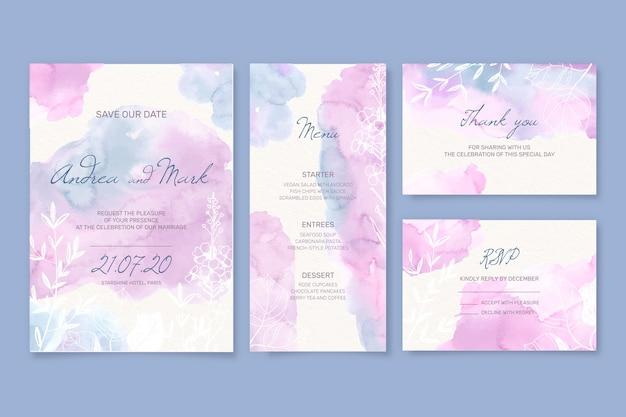 Artigos de papelaria de casamento e envelope em estilo aquarela
