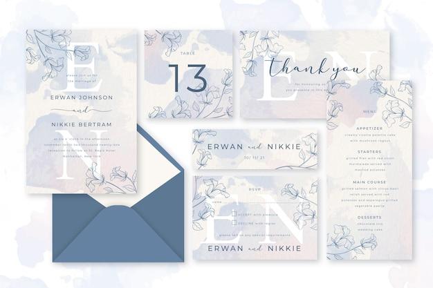 Artigos de papelaria de casamento pastel de pó desenhado de mão