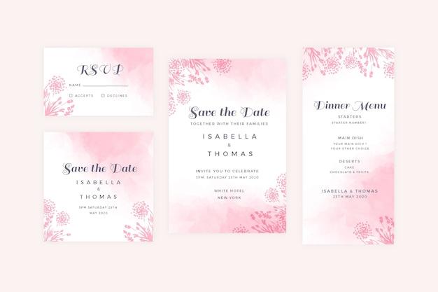 Artigos de papelaria de casamento pastel em pó