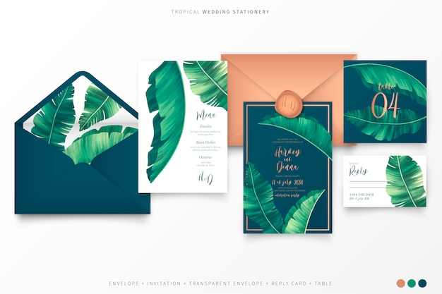 Artigos de papelaria de casamento tropical com folhas de palmeira elegante