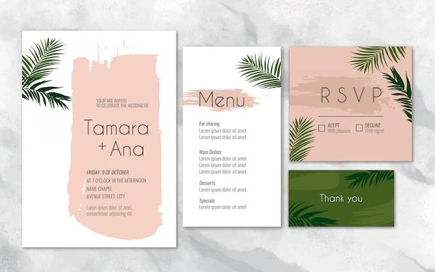 Artigos de papelaria de casamento tropical na cor pêssego