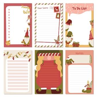 Artigos de papelaria de coleção de duendes de gnomos de natal para tarefas de anotações para fazer organizador e planejador de listas