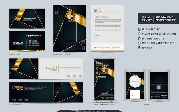 Artigos de papelaria de luxo preto e conjunto de identidade visual da marca.