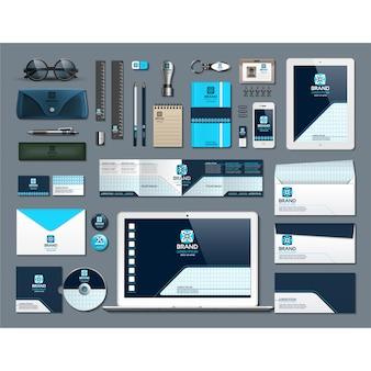 Artigos de papelaria de negócios com design azul