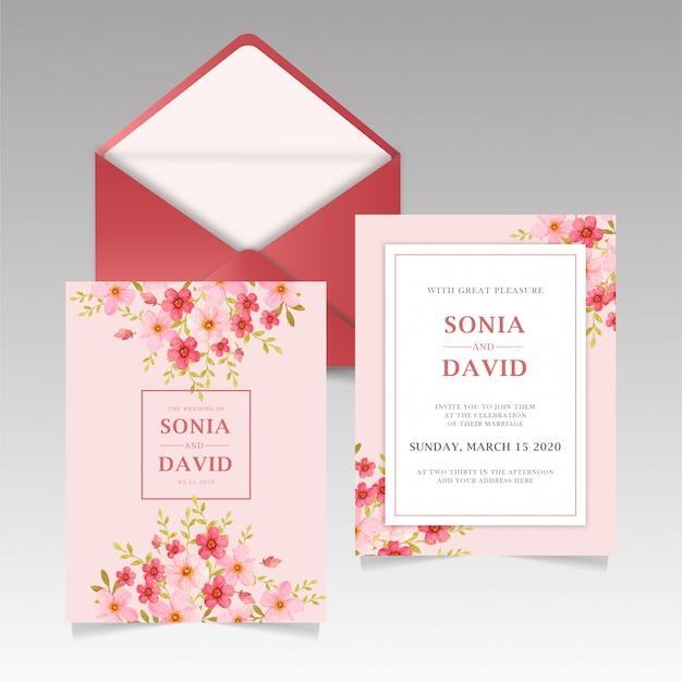 Artigos de papelaria do cartão do convite do casamento rosa vermelha