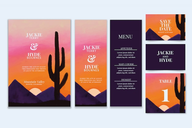 Artigos de papelaria do casamento da aguarela do deserto