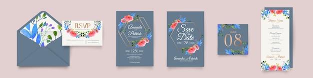 Artigos de papelaria do casamento da coleção floral