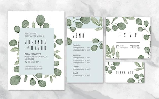 Artigos de papelaria do casamento do eucalipto da aguarela