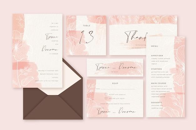 Artigos de papelaria do casamento do rosa pastel do pó