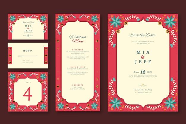 Artigos de papelaria do casamento indiano