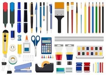 Artigos de papelaria do escritório e ferramentas de arte isoladas no fundo branco