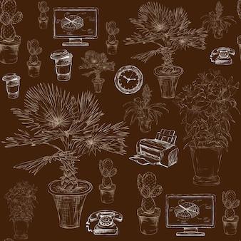 Artigos de papelaria do escritório sem costura com padrão de flores decorativas