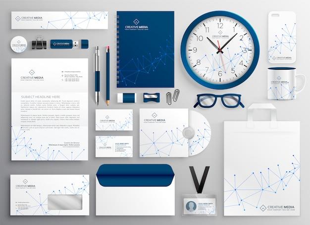 Artigos de papelaria do negócio ajustados no diagrama de wireframe