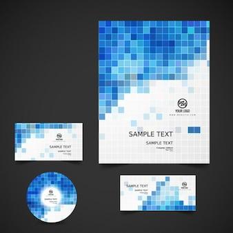Artigos de papelaria do negócio com mosaico azul