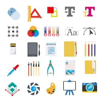Artigos de papelaria e ferramentas para escrever no conjunto de vetores de computador