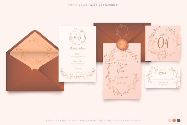 Artigos de papelaria elegantes do casamento na paleta de cores blush e cobre