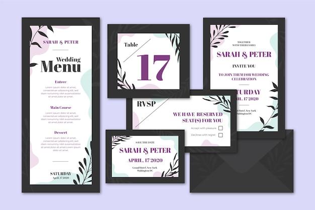 Artigos de papelaria elegantes e escuros do casamento