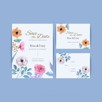 Artigos de papelaria florais bonitos do casamento