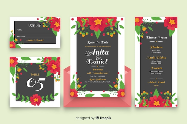 Artigos de papelaria florais coloridos do casamento