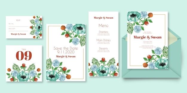 Artigos de papelaria floral do casamento em máscaras azuis
