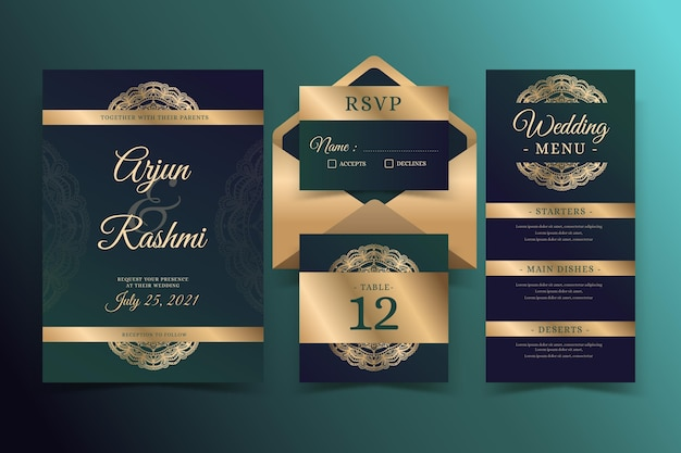 Artigos de papelaria indianos dourados do casamento