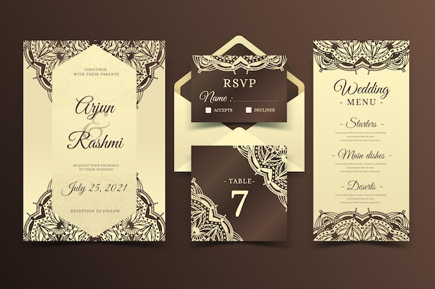 Artigos de papelaria indianos elegantes do casamento