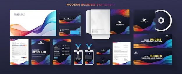 Artigos de papelaria modernos da identidade corporativa do negócio abstrato conjunto gradiente colorido