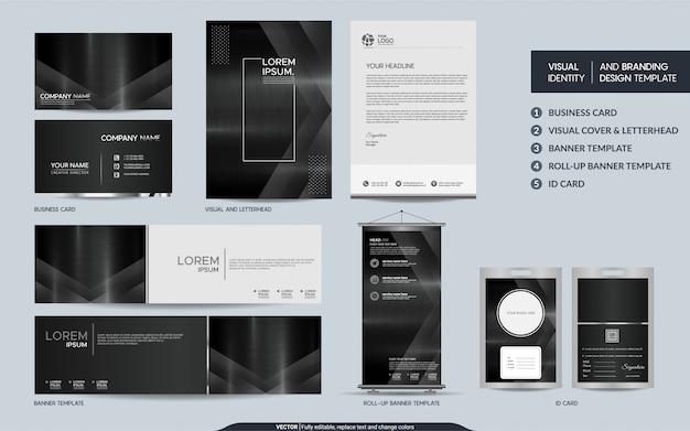 Artigos de papelaria modernos do metal escuro e identidade visual da marca com sobreposição abstrata camadas fundo.