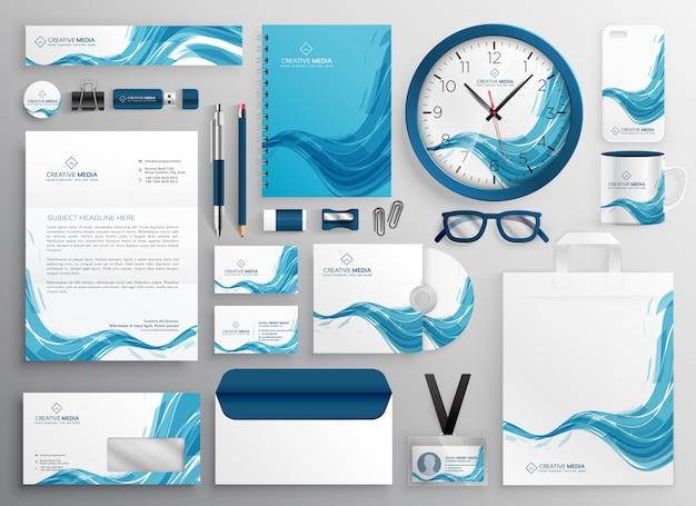 Artigos de papelaria modernos do negócio da onda azul abstrata