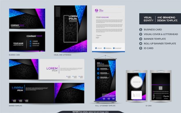Artigos de papelaria modernos e conjunto de identidade visual da marca.