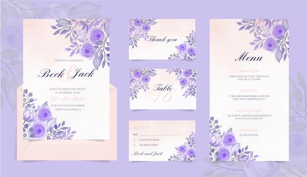 Artigos de papelaria para casamento com flores em aquarela