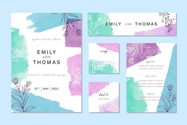 Artigos de papelaria para casamento em aquarela azul e violeta