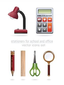 Artigos de papelaria para escola e escritório. conjunto de ícones