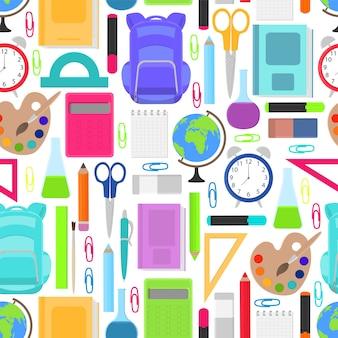 Artigos de papelaria para escola sem costura padrão