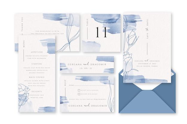 Artigos de papelaria pastel do casamento do pó azul