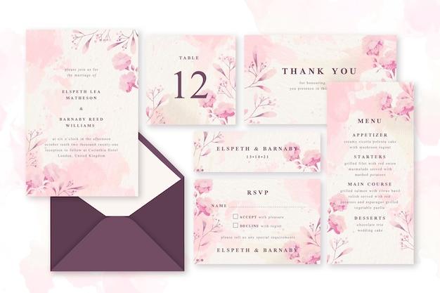 Artigos de papelaria pastel do casamento do pó cor-de-rosa