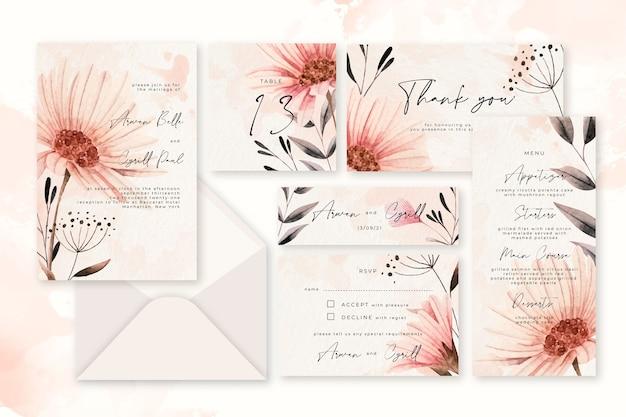 Artigos de papelaria pastel do casamento do pó floral