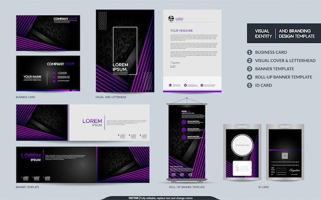 Artigos de papelaria pretos modernos e conjunto de identidade visual da marca.