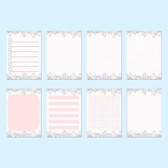 Artigos de papelaria romântica primavera pêssego conjunto de modelo de papel