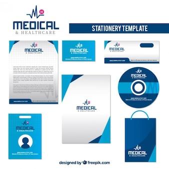 Artigos de papelaria saúde na cor azul