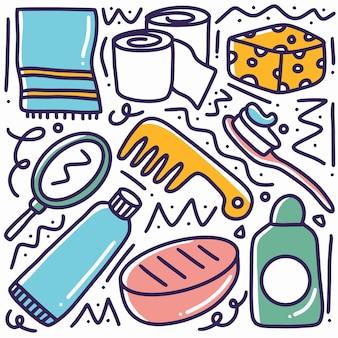 Artigos de toalete de bebê desenhados à mão com ícones e elementos de design
