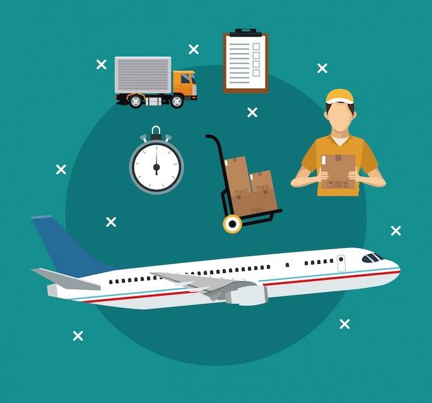 Artigos de transporte de avião conceito de entrega internacional