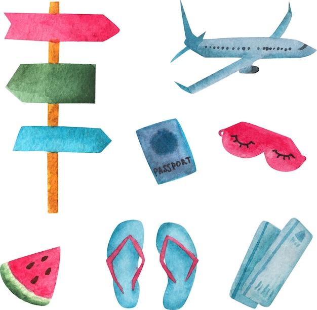 Artigos de viagem, aquarelas, transporte de férias